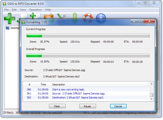 Click to view OGG to MP3 Converter 6.1.9 screenshot